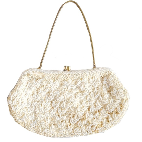 Vintage Bags | Beaded Sequined Cream Gold
